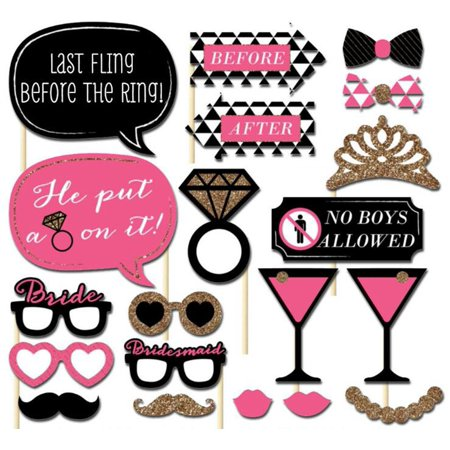 20-Piece Photo Booth Props Party Favor for Bachelorette Party with Shiny Crown Glasses - Bachlorette Favors