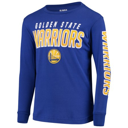 Youth Royal Golden State Warriors Team Wordmark Long Sleeve T-Shirt - Golden State Warriors Heart