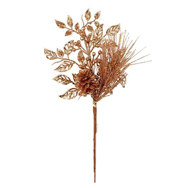 "Vickerman 555576 - 10"" Honey Gold Pinecone Glitter Leaf Pick (12 pack) (L185837)"
