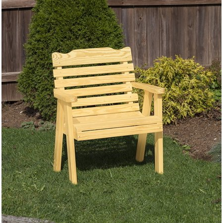 Outdoor Patio Garden Lawn Exterior 2 Ft Gold Finish Amish Heavy Duty 800 Lb Classic Park Style Kiln-Dried Pine Chair