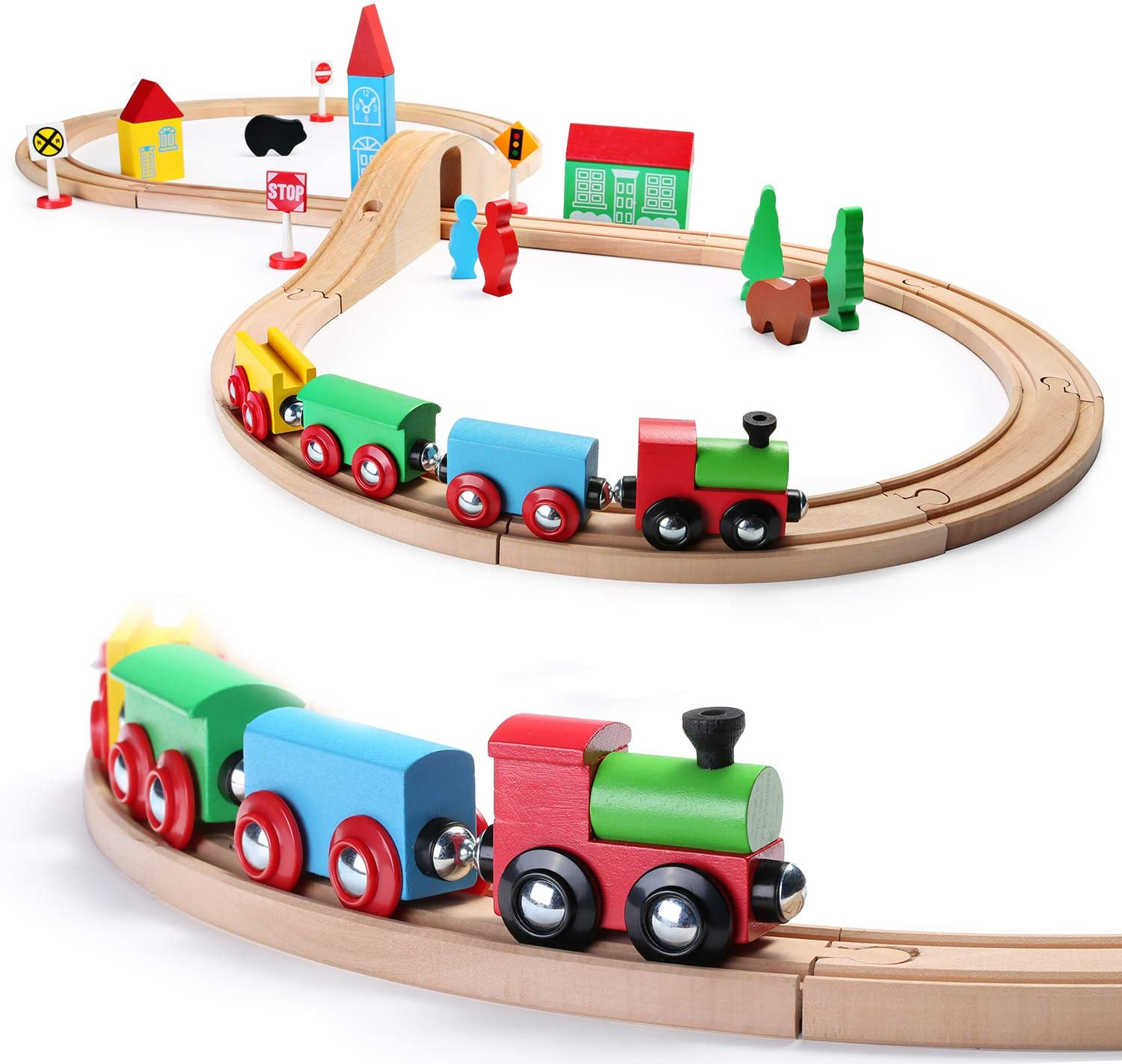 Ottoy Wooden Train Set for Toddler with Double-Side Train ...