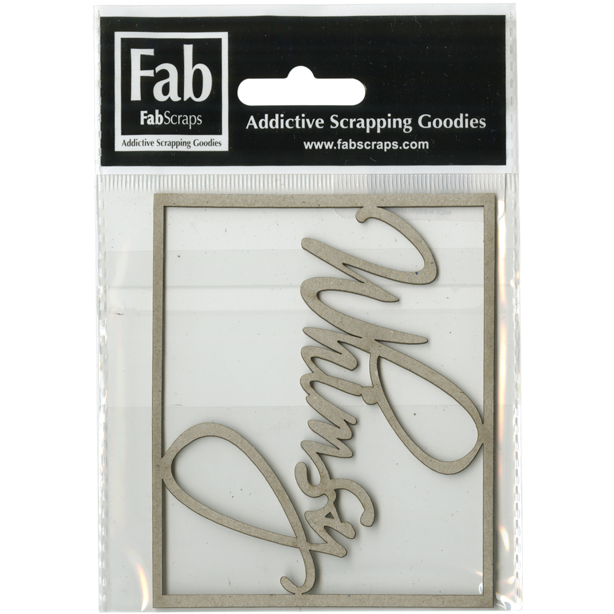 "FabScraps Kaleidoscope Die-Cut Gray Chipboard Word-Whimsy, 3.75""X3"" Frame"