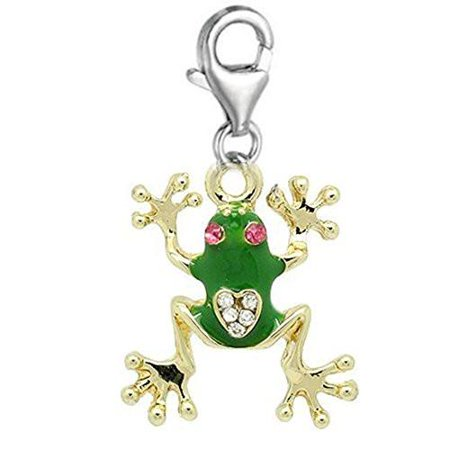 Clip on Frog Charm Dangle Pendant for European Clip on Charm Jewelry with Lobster -