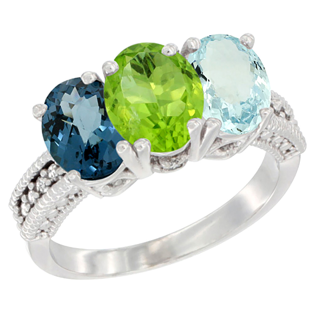 10K White Gold Natural London Blue Topaz, Peridot & Aquamarine Ring 3-Stone Oval 7x5 mm Diamond Accent, sizes 5 10 by WorldJewels