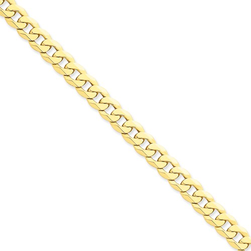 14k Yellow Gold Men's 9in 8mm Flat Beveled Curb Chain Bracelet by Jewelrypot