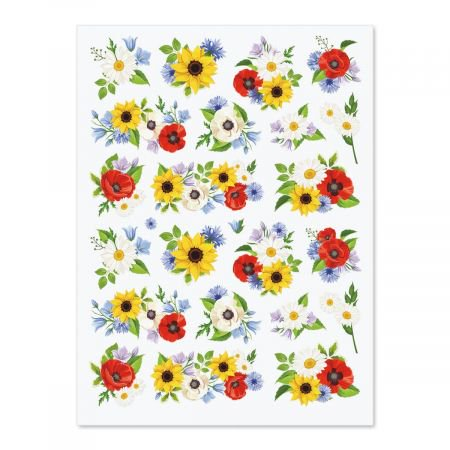 Poppies, Sunflowers & Daisies Stickers - 88 Flower Stickers on four 8-1/2