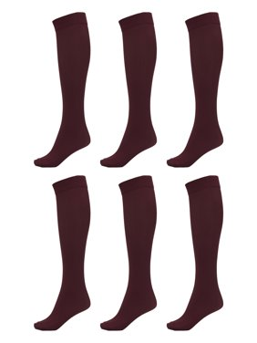 DARESAY Women Trouser Socks with Comfort Band Spandex Opaque Knee High - 6-Pack