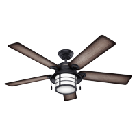 """Hunter 54"""" Key Biscayne Weathered Zinc Ceiling Fan with Light Kit and Pull Chain"""