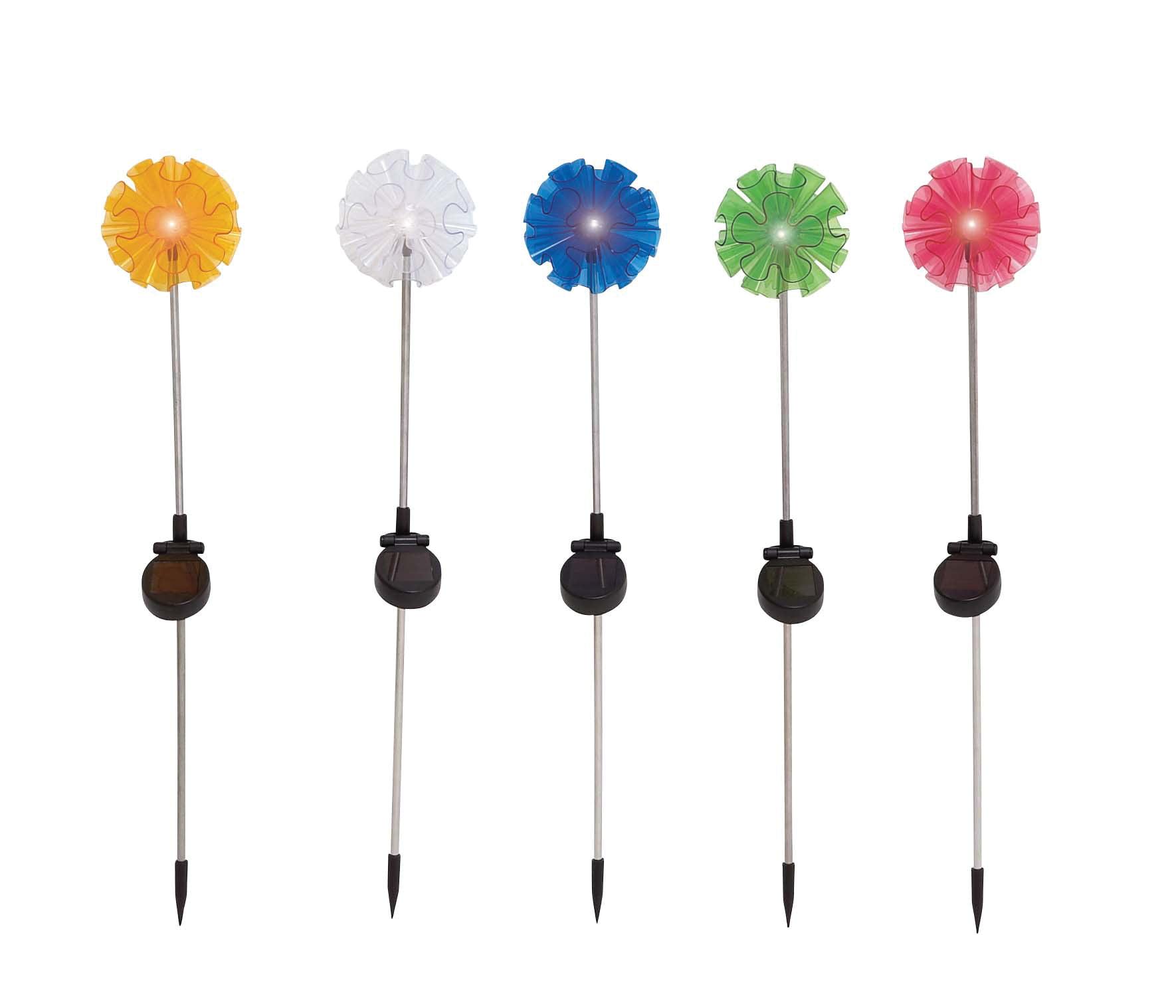 The Flowery Metal Solar Garden Stake 5 Assorted by Benzara