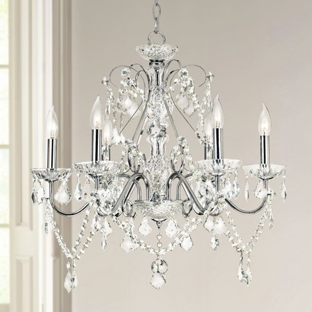 "Vienna Full Spectrum Grace 23 1/2"" Wide Chrome and Crystal 6-Light Chandelier"
