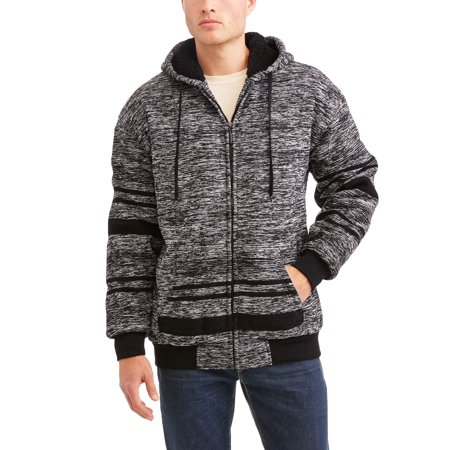 Climate Concept Mens Textured Stripe Sherpa Lined Fleece Hoodie