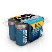 Rayovac High Energy Alkaline, D Batteries, 6 Count