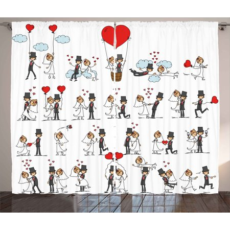 Wedding Decorations Curtains 2 Panels Set, Cartoon Style Couple on Clouds with Hearts Cute Love Themed, Window Drapes for Living Room Bedroom, 108W X 84L Inches, Red Mint Green Grey, by Ambesonne - Dark Cloud 2 Halloween Theme