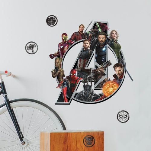 York Wallcoverings RMK3768GM RoomMates 10 Piece Avengers Infinity War Logo Repositionable Peel and Stick Wall Decals
