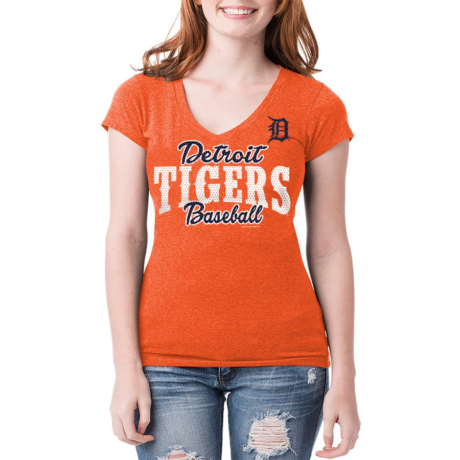 Detroit Tigers Womens Short Sleeve Team Color Graphic Tee