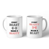 Every Beast Beauty 11oz Matching Couple Gift Mugs For Newlywed Gift