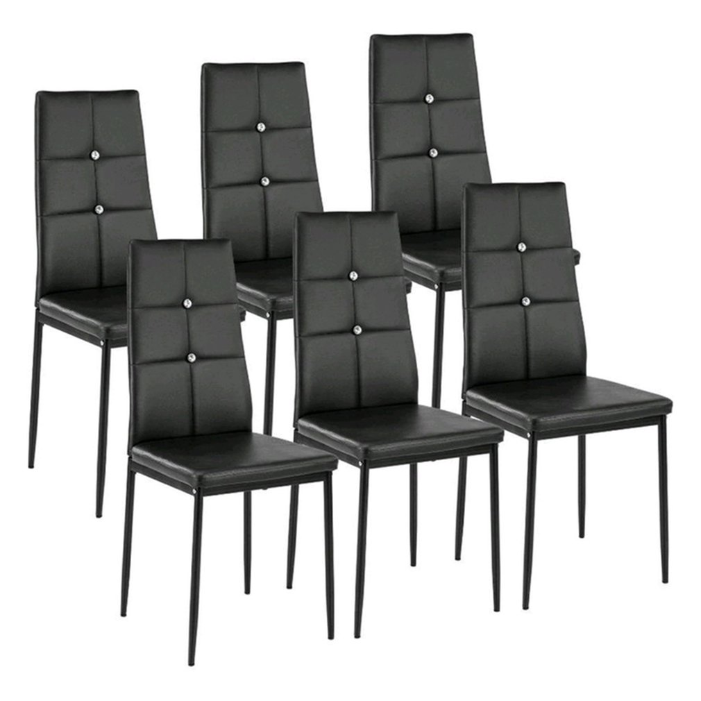 Dining Chairs Set of 6 High Back Design with Heavy Duty Frame PU Leather Cushioned Seat