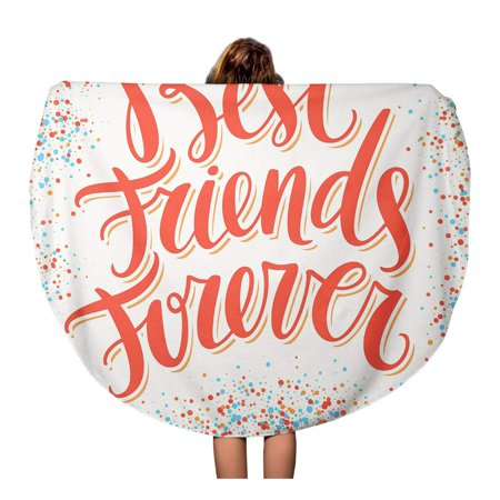 LADDKA 60 inch Round Beach Towel Blanket Day Best Friends Forever BFF Bro Brotherhood Friendship Fun Travel Circle Circular Towels Mat Tapestry Beach