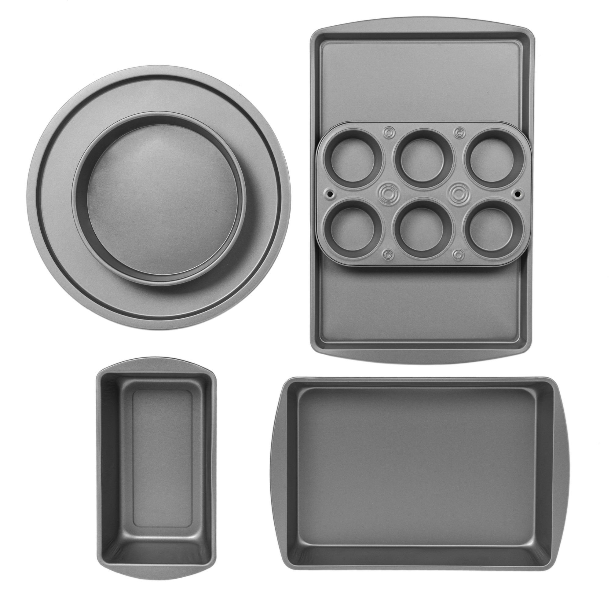 BakerEze 6-Piece Non-stick Bakeware Set, Muffin Pan, Cake and Loaf Pan, Pizza Pan, Baking Sheet