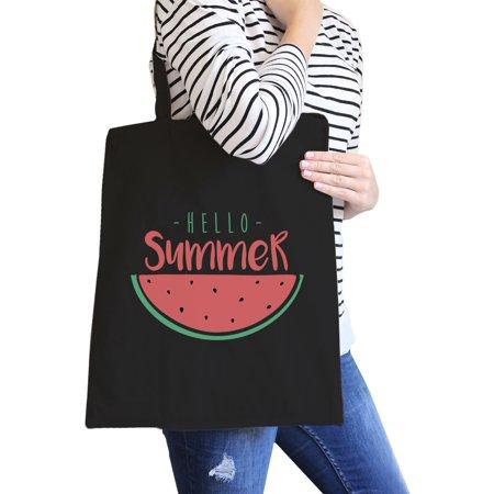 Hello Summer Watermelon Black Canvas Tote Bag Cute Summer Gift Idea - Watermelon Ideas