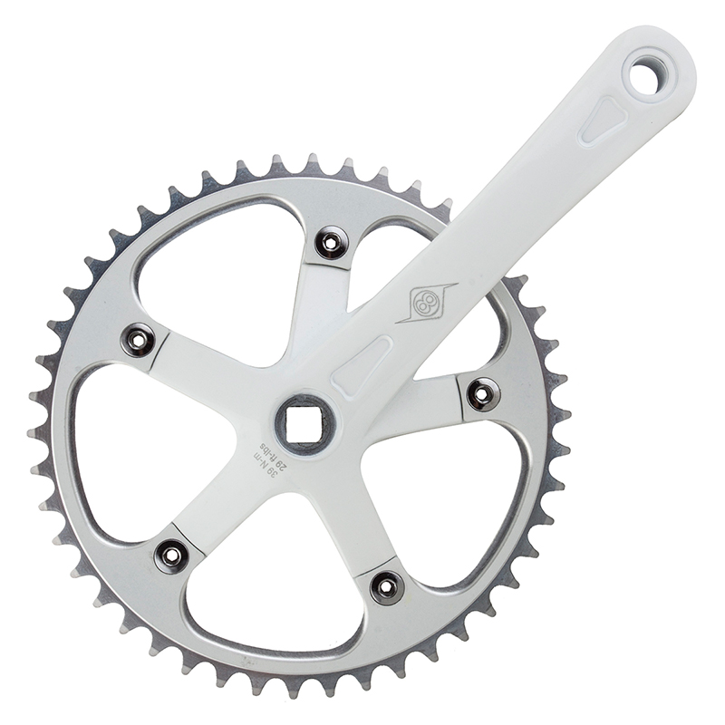 "Origin8 Track Crankset 170mm White 46T x 1/8"" JIS Single Speed Fixed Gear Bike"