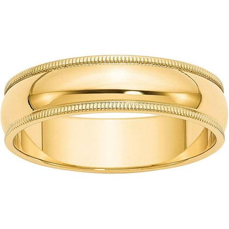Gold Milgrain Designer Band (14k 6mm Milgrain Half-Round Wedding Band)