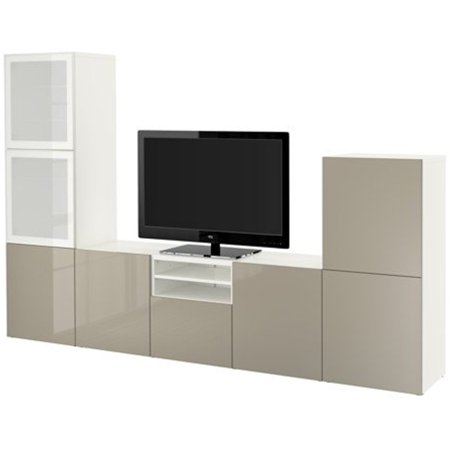 Ikea Tv Storage Combination Glass Push Open Doors  White  Selsviken High Gloss Beige Frosted Glass 18382 261717 1220
