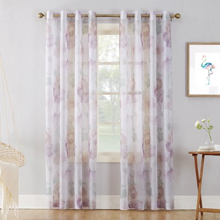 - No. 918 Andorra Watercolor Floral Crushed Voile Texture Sheer Curtain Panel