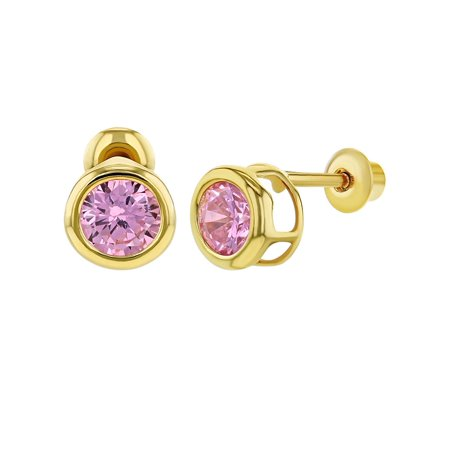 - 18k Gold Plated Screw Back Girls Earrings Pink CZ Round Bezel Set 5mm