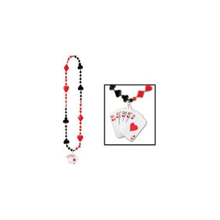 Casino Poker Cards Royal Flush Medallion Beaded Party Necklace Costume Accessory