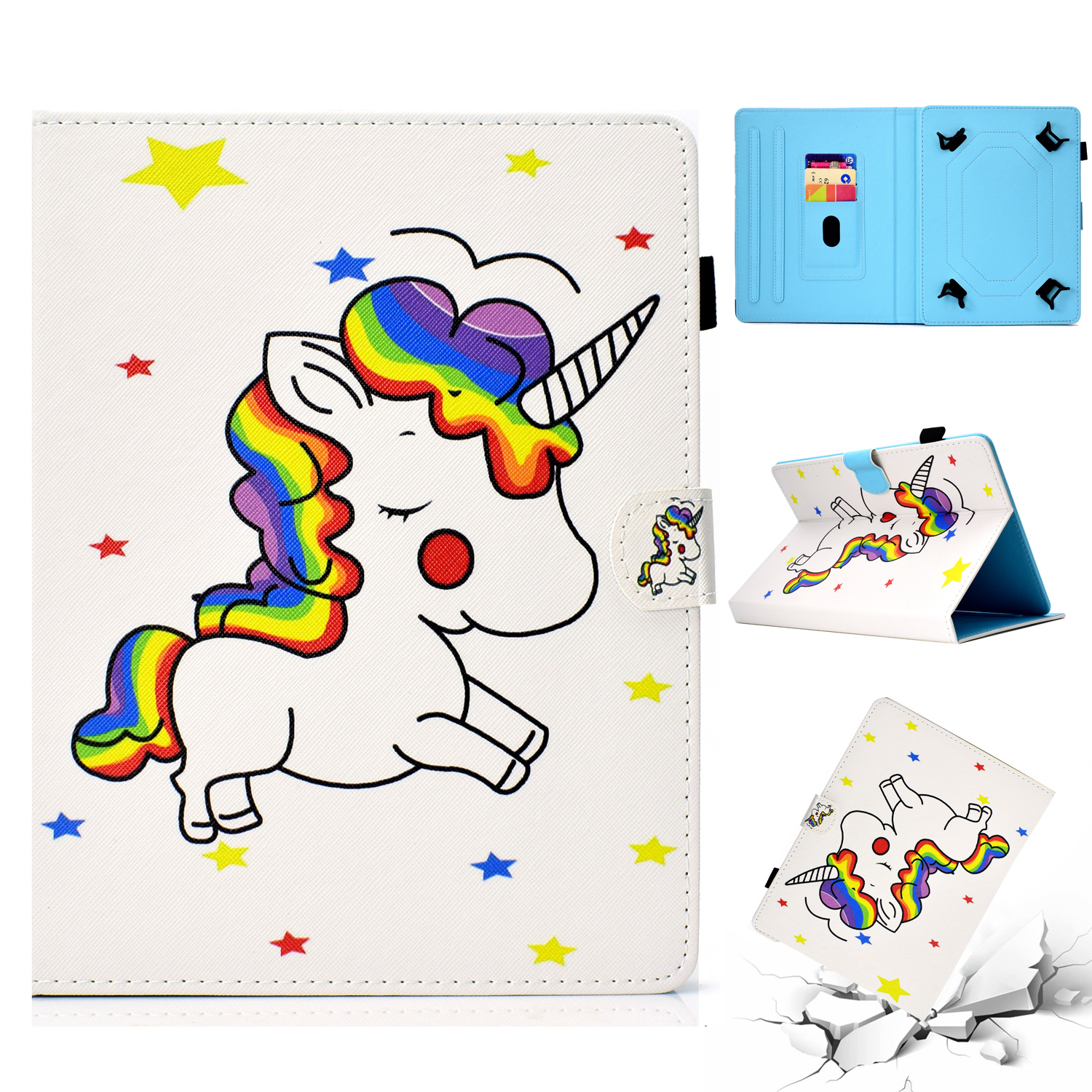 "Universal 6- 7 Inch Tablet Caes, Allytech Stand Folio Wallet Case Cover for Kindle Paperwhite 2018 2016, RCA Voyager 7"", Samsung Galaxy Tab A 7.0/ Tab E Lite/ Tab 3 T280 T110, iView, Rainbow Unicorn"