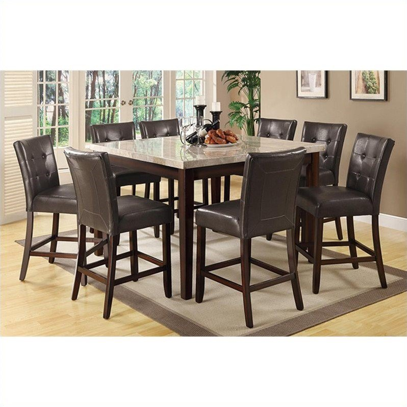 Coaster Furniture Milton 9 Piece Marble Top Table Set in ...