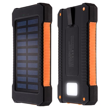 10000Mah Solar Charger Dual Usb Power Bank Phone Battery Flashlight Compass