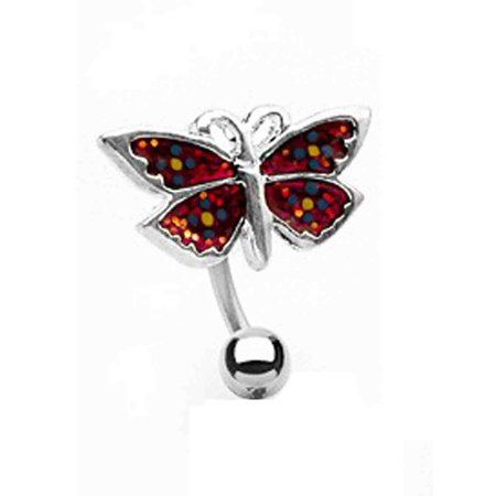 - Colorful Red Butterfly Charm Stainless Steel Bananabell Belly Ring (14g)