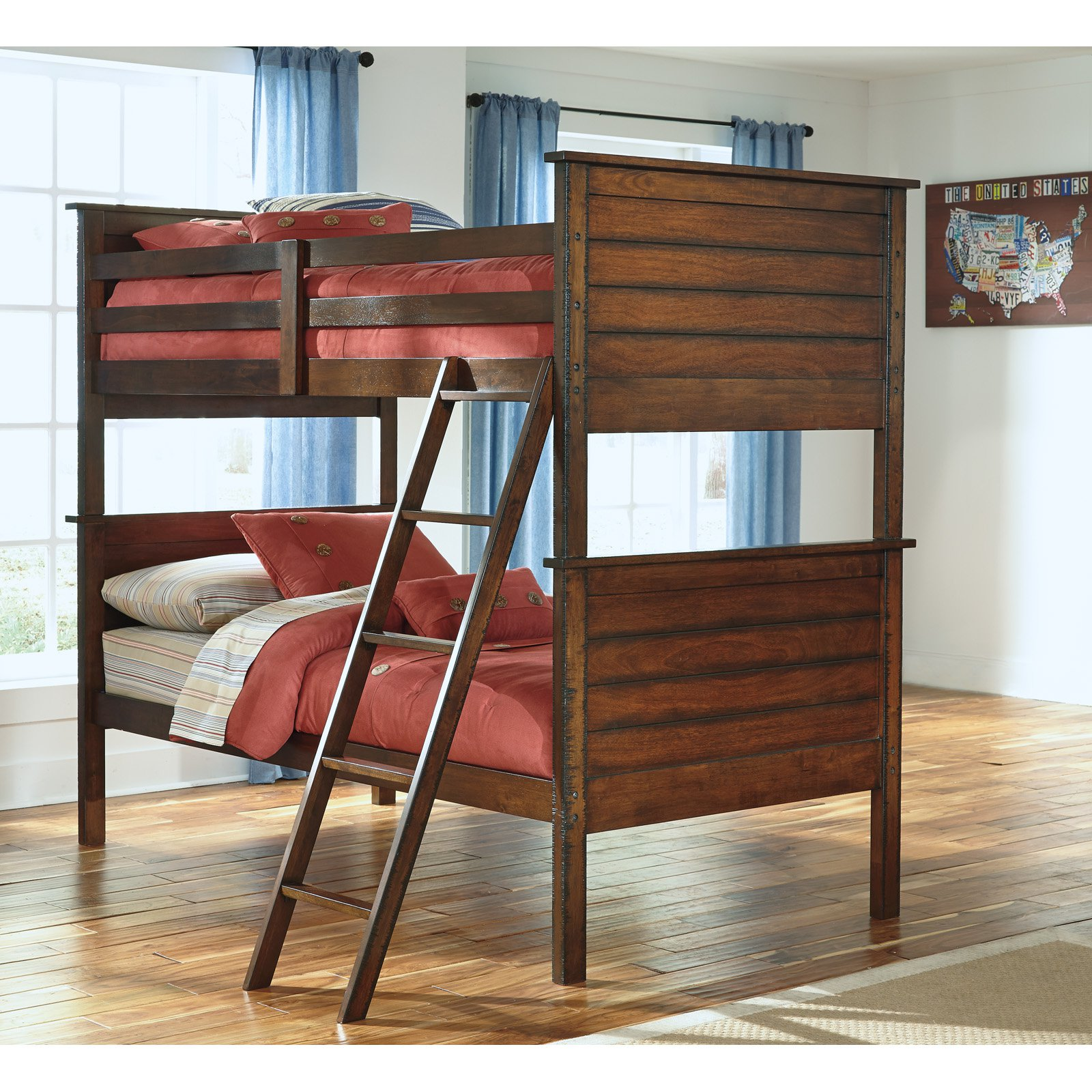 Signature Design by Ashley Ladiville Twin over Twin Bunk Bed - Rustic Brown