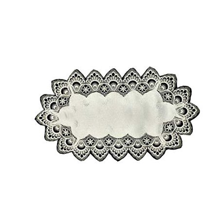 Doily Boutique Place Mat or Doily with Antique White Lace and Fabric, Size 27 x 13 inches (High Contrast Da Mat Fabric)
