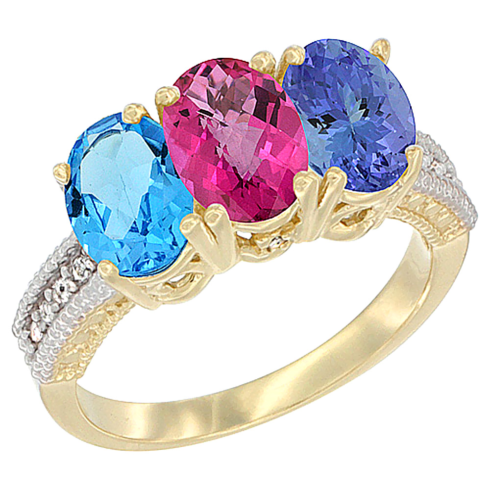 14K Yellow Gold Natural Swiss Blue Topaz, Pink Topaz & Tanzanite Ring 3-Stone 7x5 mm Oval Diamond Accent, sizes 5 10 by WorldJewels