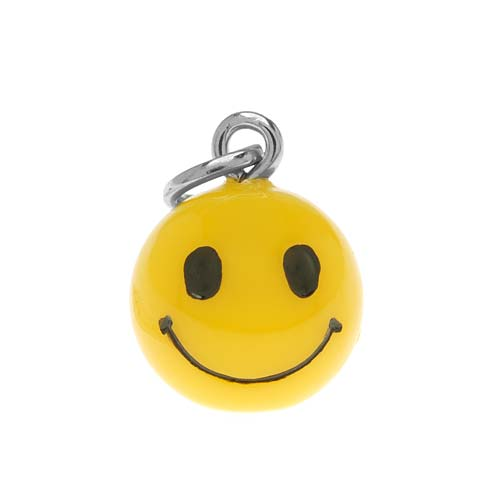 Hand Painted 3-D Yellow Happy Smiley Face Charm 16mm (1)