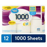 (3 packs/12 rolls total) Great Value 1000 Sheets Bath Tissue, 4 Rolls Each Pack, Packaging May Vary