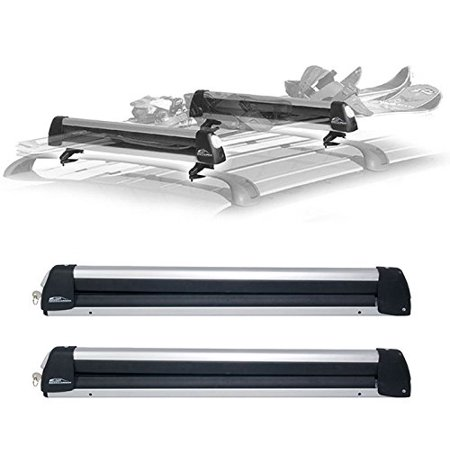 Rooftop SnowRack Plus Ski Rack for Cars Fits 6 Pairs Skis or Fits 4 Snowboards. Fit most of the flat and round and thick (Shingle Flat Roof)