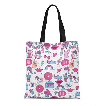 ASHLEIGH Canvas Tote Bag Pink Tween Girly Purple Bubble Chat Collection Comics Donut Reusable Shoulder Grocery Shopping Bags Handbag