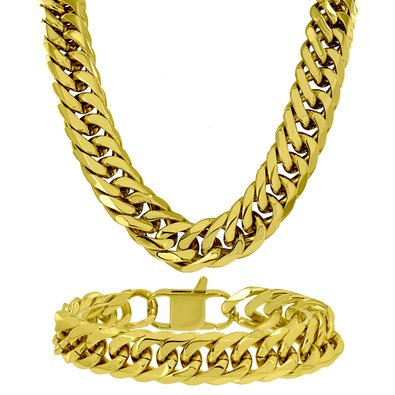 Mens Miami Cuban Neckalce Bracelet Combo 14k Gold Finish 19 MM Thick 400+ Gr - Thick Bracelets