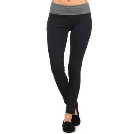 Women Fold Over Banded Waist Workout Fitness Yoga Pants