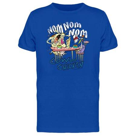 Cow And Chicken Nom Nom Cartoon Men's (Cow Chicken T-shirt)