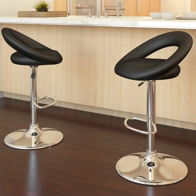 "Sonax Corliving 43"" Round Back Bar Stool in Black (Set of 2)"