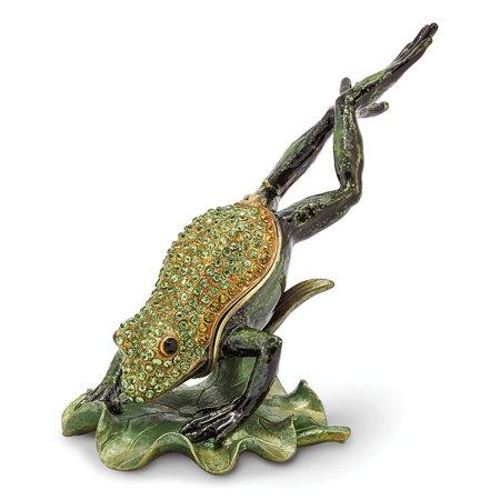 Bejeweled Frog - Bejeweled Pewter Enamel Diving Frog Trinket Box