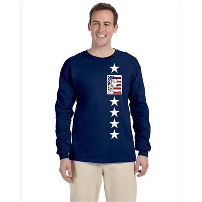 Carolines Treasures SS4225-LS-NAVY-XL USA American Flag With Dalmatian Long Sleeve Blue Unisex Tshirt - Extra Large - image 1 of 1