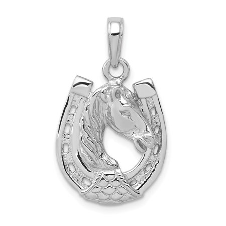14k White or Yellow Gold Horse Head and Horseshoe Pendant, 15mm