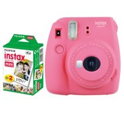 Fujifilm instax mini 9 Instant Film Camera (Flamingo Pink) + Fujifilm Instax Mini Twin Pack Instant Film (20 Shots) – Valued Bundle