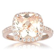 Rose Goldtone Sterling SIlver Cushion-cut Peach Cubic Zirconia Engagement Ring Peach (Size 12)